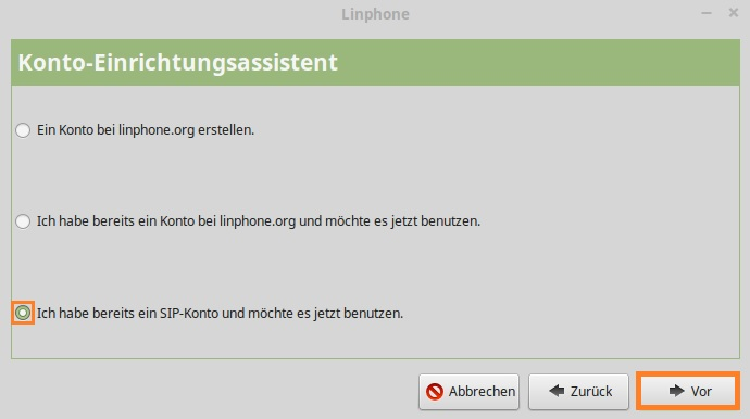 Linphone (Linux) - easybell hilft